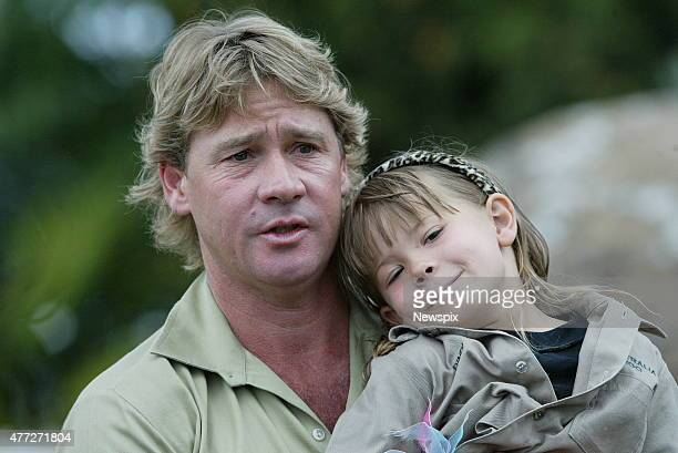 Steve Irwin and daughter Bindi gives a press conference outside his Australia Zoo at Beerwah on the Sunshine Coast defending his actions in taking...