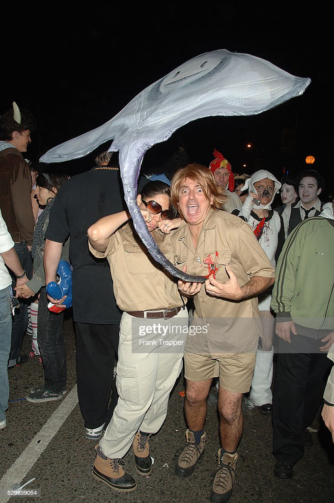 Steve Irwin character and Stingray at the annual West Hollywood Halloween Costume Carnaval held along Santa & USA - West Hollywood Halloween Costume Carnaval Pictures | Getty Images