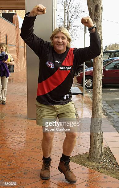 Steve Irwin otherwise know as the Crocodile Hunter, visits his favorite AFL club the Essendon Bombers at Windy Hill, Melbourne, Australia on...