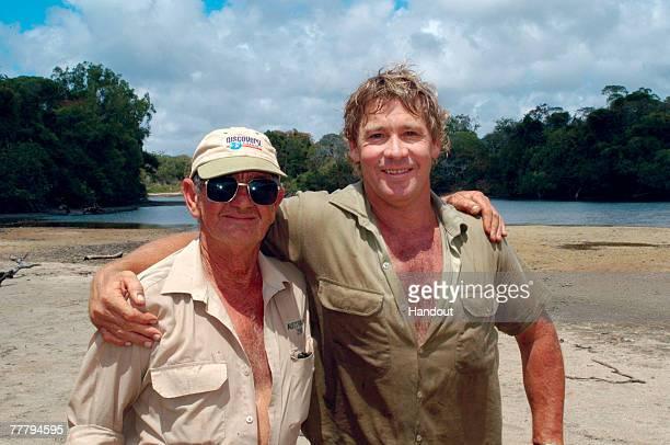 Steve Irwin poses September 16, 2003 in Beerwah, Australia.