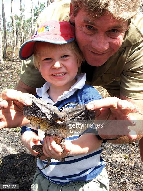 Steve Irwin poses with his son Bob at Australia Zoo August 2, 2006 in Beerwah, Australia.