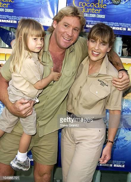 Steve Irwin Terri Irwin daughter during The Crocodile Hunter Collision Course Premiere at Arclight Cinerama Dome in Hollywood California United States