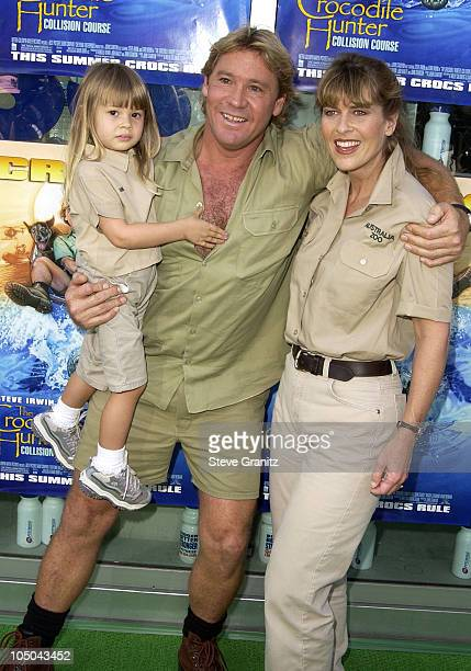 Steve Irwin Terri Irwin daughter during The Crocodile Hunter Collision Course Premiere at Arclight Cinerama Dome in Hollywood California United States