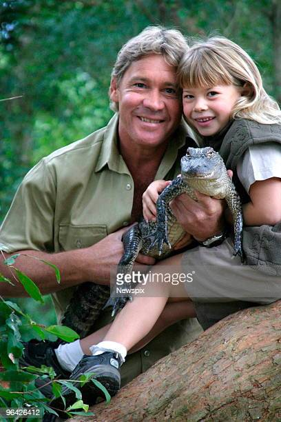 Steve Irwin with his daughter Bindi Irwin and a 3yearold alligator called 'Russ' at Australia Zoo