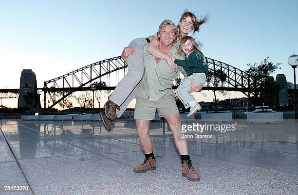 Steve Irwin with his wife Terri and daughter Bindi at the George Street Theatre in Sydney, Australia.