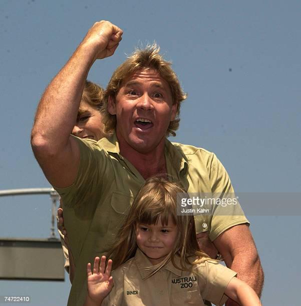 Steve Irwin with wife Terri Irwin and daughter Bindi Irwin at the Arclight Cinerama Dome in Hollywood, California