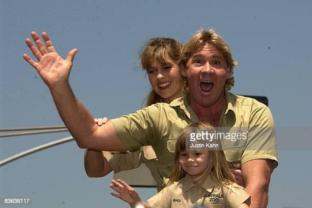 Steve Irwin with wife Terri Irwin and daughter Bindi Irwin