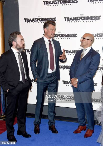 Steve Jablonsky Josh Duhamel and Stanley Tucci attend the global premiere of 'Transformers The Last Knight' at Cineworld Leicester Square on June 18...