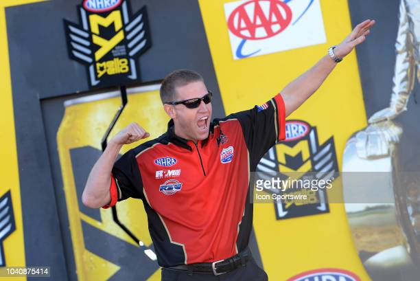 Steve Jackson NHRA Pro Mod is introduced to the crowd during prerace festivities before the start of the NHRA AAA Midwest Nationals on September 23...