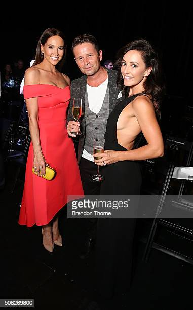 Steve Jacobs and Rose Jacobs pose with Kyly Clarke during the the David Jones Autumn/Winter 2016 Fashion Launch at David Jones Elizabeth Street Store...