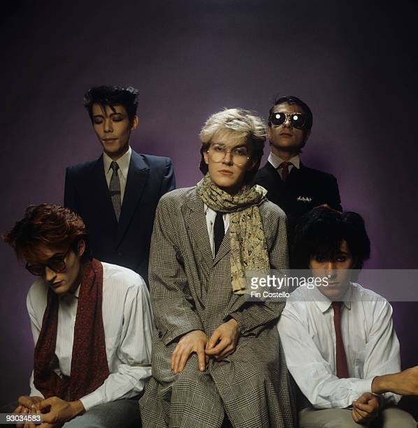 Steve Jansen Masami Tsuchiya David Sylvian Mick Karn and Richard Barbieri of Japan in London England in 1982