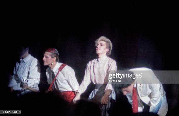Steve Jansen Mick Karn David Sylvian and Richard Barbieri of Japan take a bow at the end of their performance on stage at Hammmersmith Odeon on...