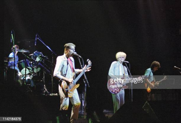 Steve Jansen Mick Karn David Sylvian and Rob Dean of Japan perform on stage at Hammmersmith Odeon on May 17th 1981 in London England