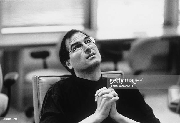 Steve Jobs Apple CEO in boardroom at Apple Headquarters a day before heading to Boston for the Macworld Expo August 4 1997 in Cupertino CA