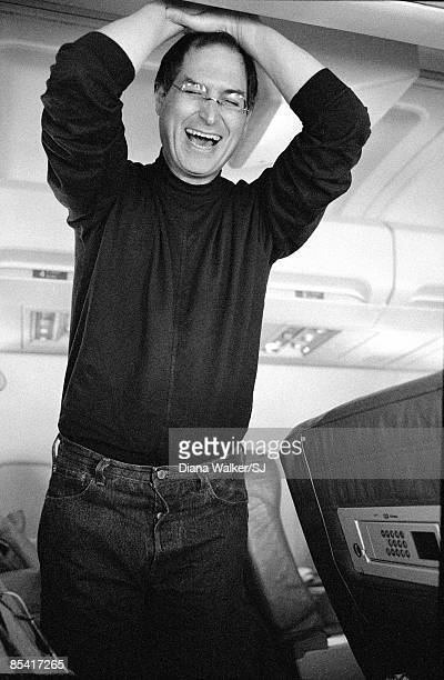Steve Jobs Apple CEO on a plane from San Francisco California going to the Macworld Expo in Boston MA in August 5 1997