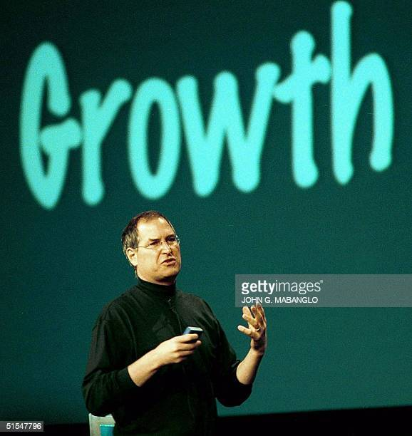 Steve Jobs Apple Computer's CEO addresses the crowd during his keynote address 15 May 2000 in San Jose California at the World Wide Developer...