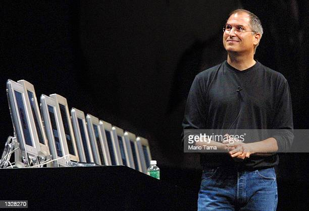 Steve Jobs, CEO of Apple, attends the Macworld Conference and Expo July 18, 2001 in New York City.