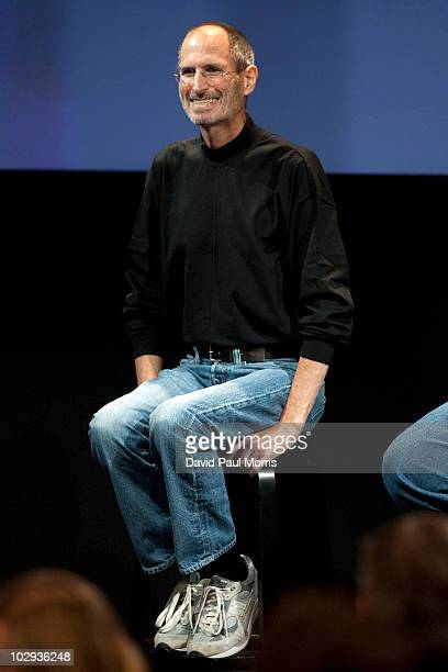 Steve Jobs CEO of Apple Computer Inc answers questions at a press conference regarding the Apple iPhone 4 reception problems at the Apple...