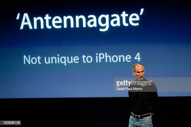 Steve Jobs CEO of Apple Computer Inc speaks during a press conference regarding the Apple iPhone 4 reception problems at the Apple headquarters July...