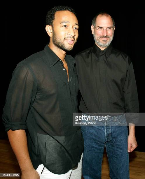 Steve Jobs CEO of Apple Computer Inc stands with Grammy winner John Legend in San Francisco California