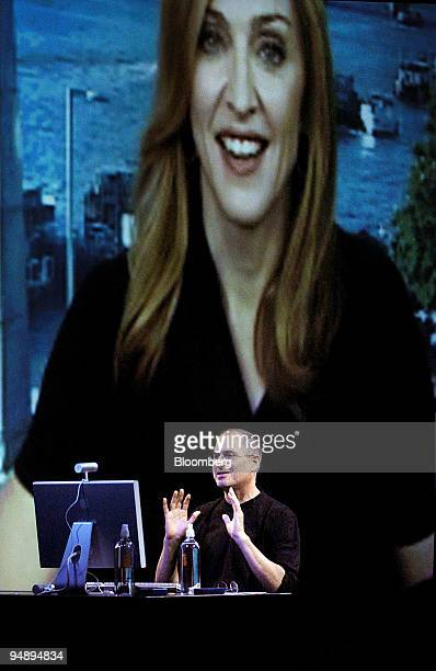 Steve Jobs CEO of Apple Computer Inc videoconferences with singer Madonna while introducing new products on Wednesday September 7 in San Francisco...