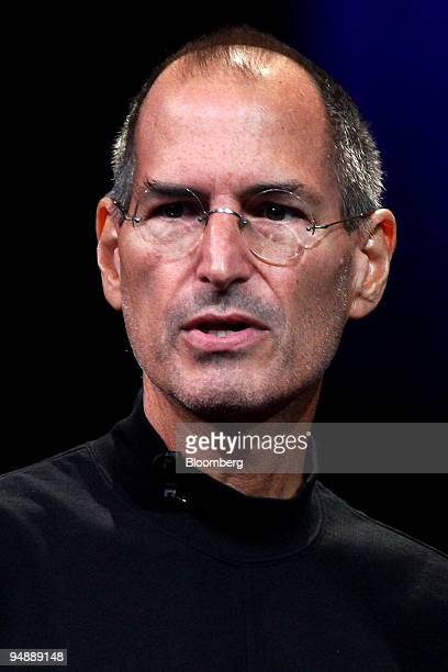 """Steve Jobs, chief executive officer and co-founder of Apple Inc., speaking during an event entitled """"Let's Rock"""" at the Yerba Buena Center for the..."""