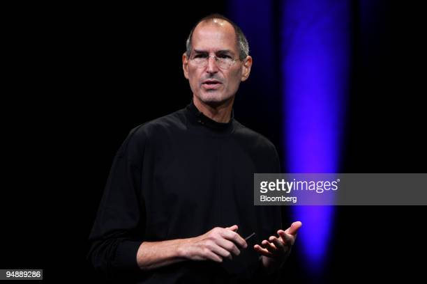 """Steve Jobs, chief executive officer and co-founder of Apple Inc., speaks during an event entitled """"Let's Rock"""" at the Yerba Buena Center for the Arts..."""