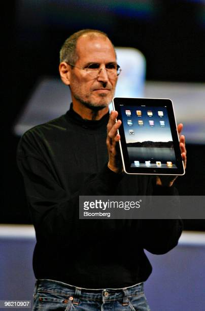 Steve Jobs chief executive officer of Apple Inc arrives on stage to launch the Apple touchscreen tablet device at the Yerba Buena Center for the Arts...