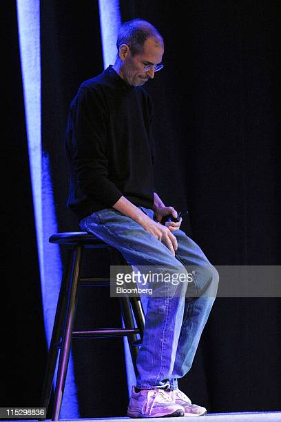 Steve Jobs chief executive officer of Apple Inc pauses while unveiling the iCloud storage system at the Apple Worldwide Developers Conference 2011 in...