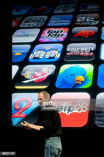 Steve Jobs chief executive officer of Apple Inc speaks during a presentation at the company's headquarters in Cupertino California US on Thursday...