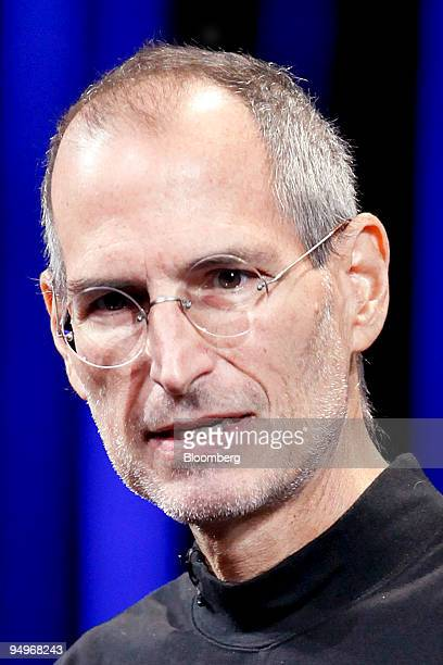 Steve Jobs, chief executive officer of Apple Inc., speaks during an Apple product event at the Yerba Buena Center for the Arts Theater in San...