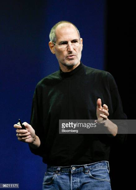 Steve Jobs, chief executive officer of Apple Inc., speaks during the debut of the Apple iPad tablet at the Yerba Buena Center for the Arts Theater in...