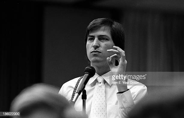 Steve Jobs from Apple Computer speaks at the annual PC Forum Phoenix Arizona early 1985