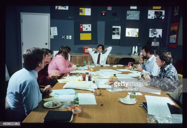 Steve Jobs leading a lunchtime huddle with his design team at Apple Headquarters in Cupertino CA