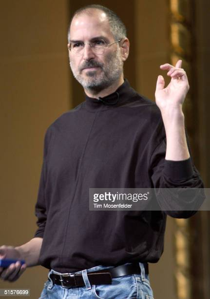 Steve Jobs of Apple Computer celebrates the release of a new Apple iPod family of products at the California Theatre on October 26, 2004 in San Jose...