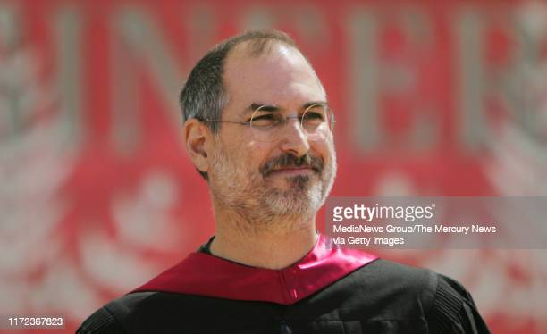 Steve Jobs speaks during the 114th commencement at Stanford University in Stanford, California on Sunday, June 12, 2005. Steve Jobs, CEO of Apple and...