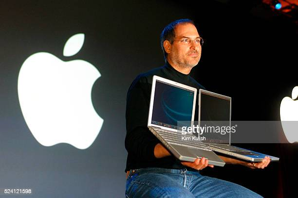 Steve Jobs, the CEO of Apple Computer, unveils new software and hardware products at the annual Macworld Conference in San Francisco. Product...