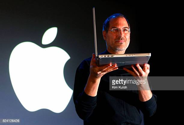 Steve Jobs the CEO of Apple Computer unveils new software and hardware products at the annual Macworld Conference in San Francisco Product highlights...