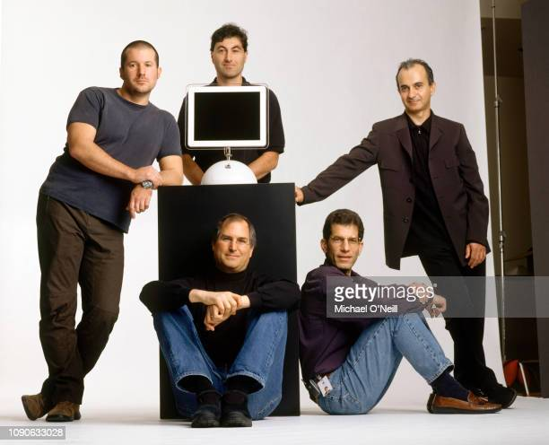 Steve Jobs with key members of his brain trust Design Chief Jonathan Ive Software Guru Avie Tevanian Hardware Chief Jon Rubinstein and Applications...