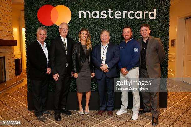 Steve John of the Monterey Peninsula Foundation David Stivers of the Pebble Beach Company CBS presenter Amanda Balionis Mastercard Executive Andres...