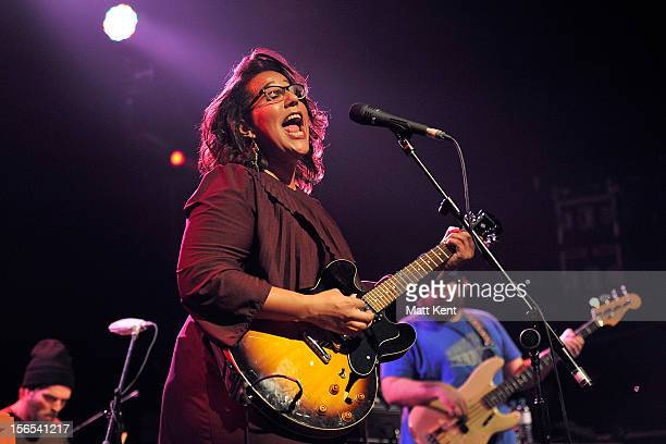 Steve Johnson Brittany Howard and Zac Cockrell of Alabama Shakes perform on stage at The Coronet on November 16 2012 in London United Kingdom