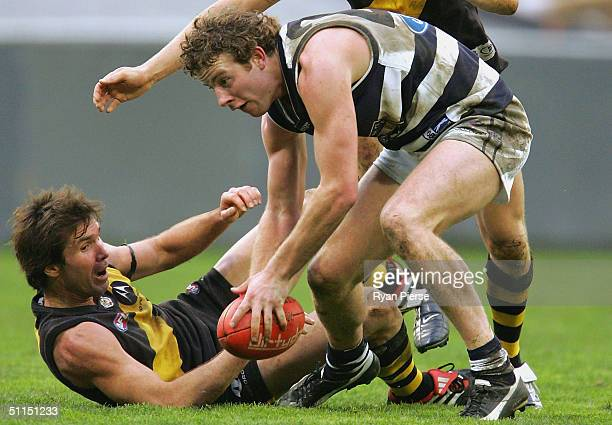 Steve Johnson for the Cats in action during the round nineteen AFL match between The Richmond Tigers and the Geelong Cats at the MCG on August 8 2004...