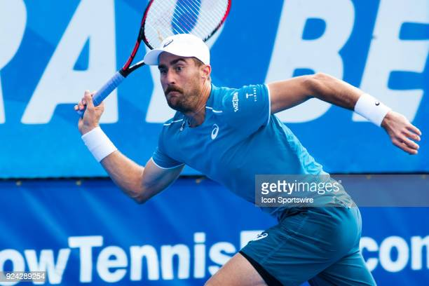 Steve Johnson is defeated by Peter Gojowczyk during the Semifinals of the ATP Delray Beach Open on February 24 at the Delray Beach Stadium Tennis...