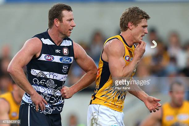 Steve Johnson of the Cats gives Scott Selwood of the Eagles a nudge during the round nine AFL match between the West Coast Eagles and the Geelong...