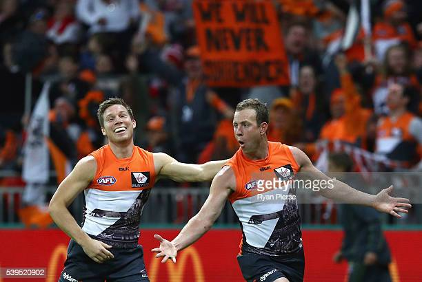 Steve Johnson of the Giants celebrates a goal during the round 12 AFL match between the Greater Western Sydney Giants and the Sydney Swans at...