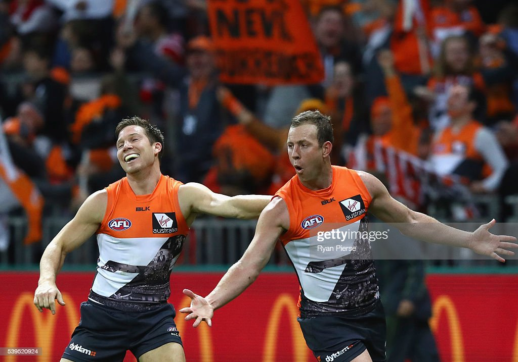 Steve Johnson of the Giants celebrates a goal during the round 12 AFL match between the Greater Western Sydney Giants and the Sydney Swans at Spotless Stadium on June 12, 2016 in Sydney, Australia.