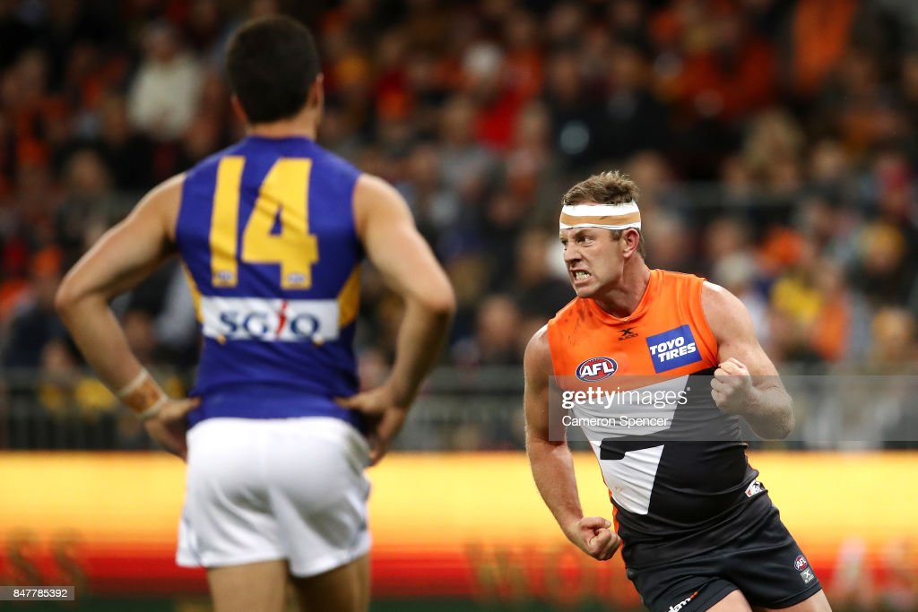 Steve Johnson of the Giants celebrates kicking a goal during the AFL First Semi Final match between the Greater Western Sydney Giants and the West Coast Eagles at Spotless Stadium on September 16, 2017 in Sydney, Australia.