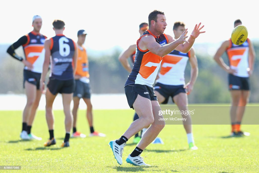 Steve Johnson of the Giants during a Greater Western Sydney Giants AFL training session at Sydney Olympic Park on August 10, 2017 in Sydney, Australia.