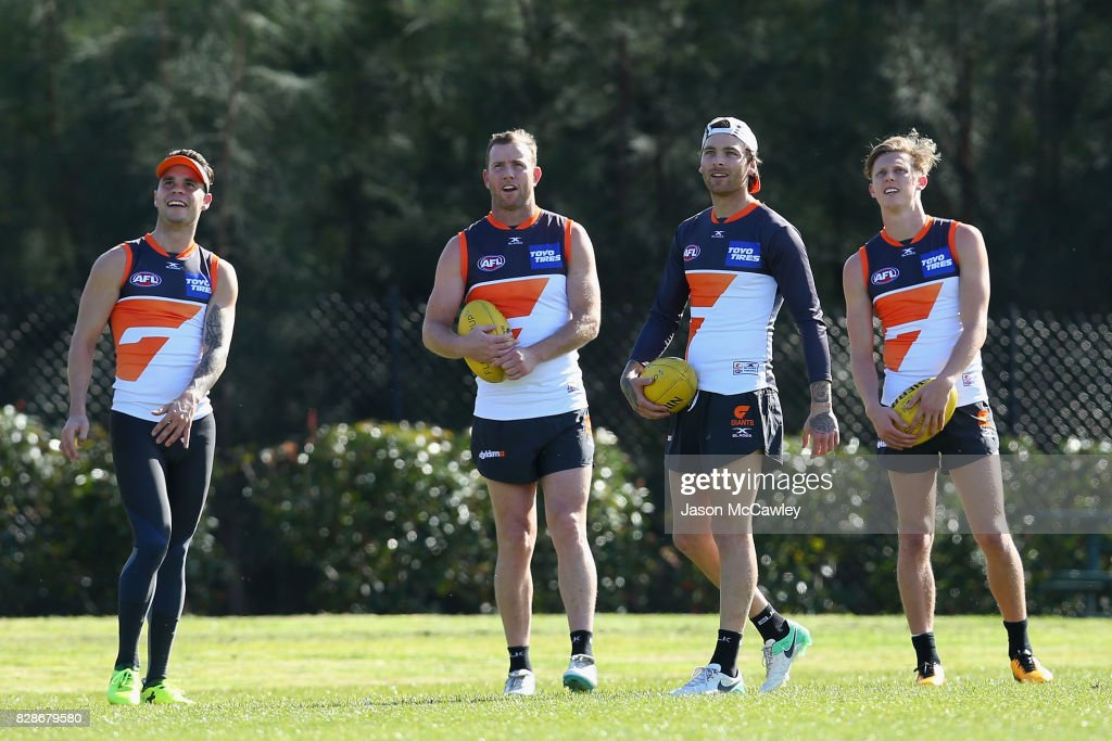 Steve Johnson of the Giants looks on during a Greater Western Sydney Giants AFL training session at Sydney Olympic Park on August 10, 2017 in Sydney, Australia.