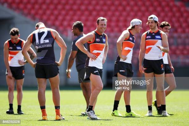 Steve Johnson of the Giants looks on during the Greater Western Sydney Giants AFL training session at Spotless Stadium on September 13 2017 in Sydney...